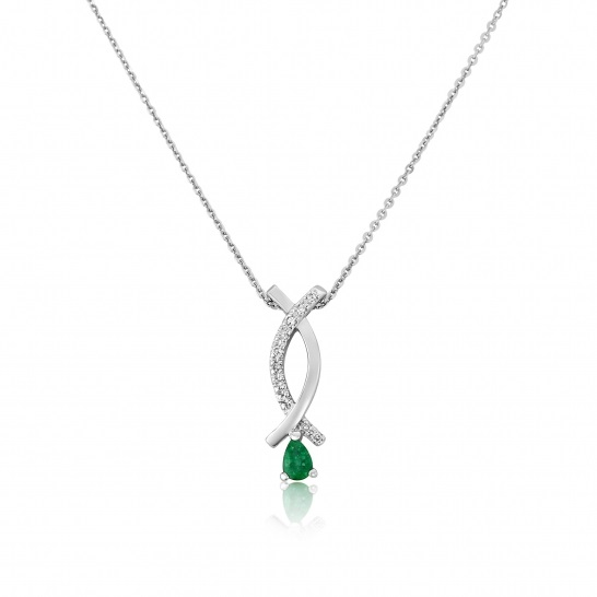 9ct white gold diamond emerald pendant riley and riley jewellers 9ct white gold diamond emerald pendant mozeypictures Choice Image